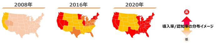 2008年~2020年のアメリカ州別ハイチュウ認知率推移